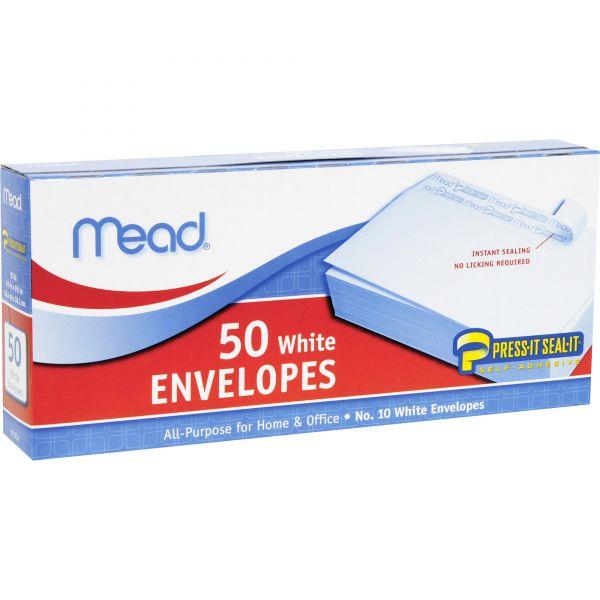 Mead Plain White Self-Seal Business Envelopes