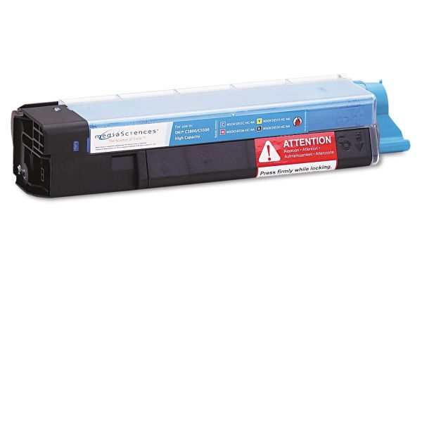 Media Sciences Remanufactured Oki 43324403 Cyan Toner Cartridge