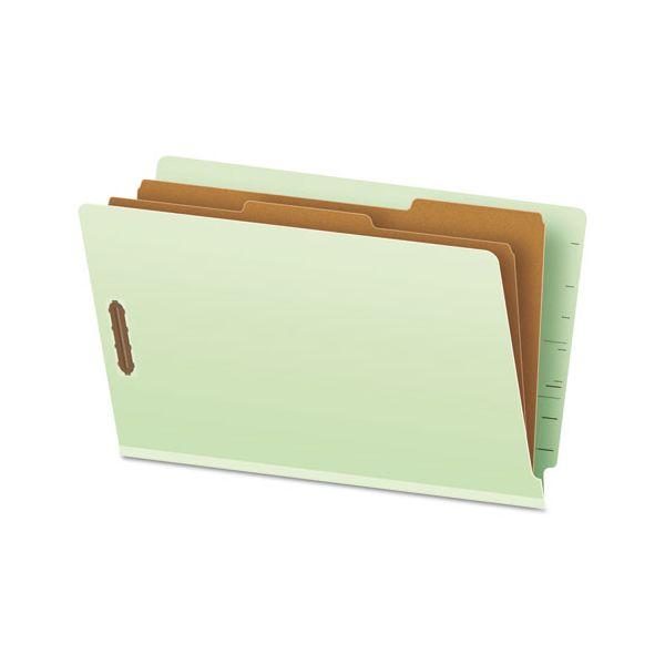 Pendaflex Pressboard End Tab Folders, Legal, 2 Dividers/6 Section, Pale Green, 10/Box