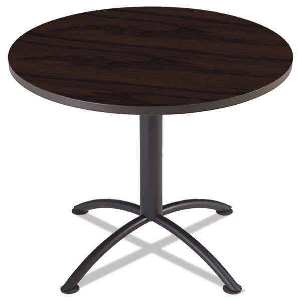 "Iceberg iLand Table, Contour, Round Seated Style, 36"" dia. x 29"", Mahogany/Black"