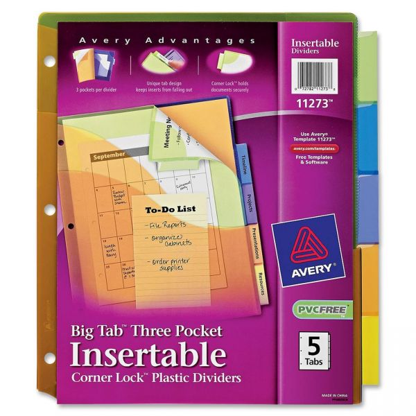 Avery Big Tab Three-Pocket Dividers with Corner Lock