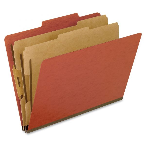 Pendaflex Six-Section Pressboard Folders, Letter, 2/5 Tab, Red, 10/Box
