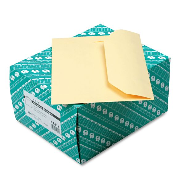Quality Park Open Side Booklet Envelope, 12 x 9, Cameo Buff, 100/Box