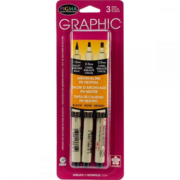 Pigma Graphic Pens Assorted 3/Pkg