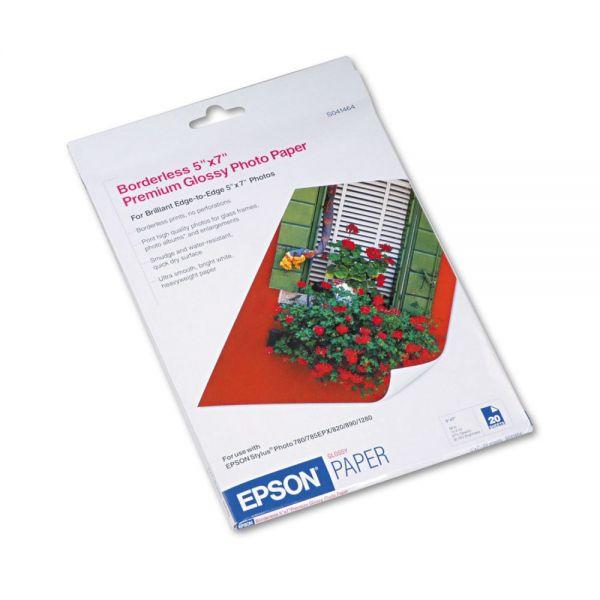 Epson Premium Photo Paper, 68 lbs., High-Gloss, 5 x 7, 20 Sheets/Pack
