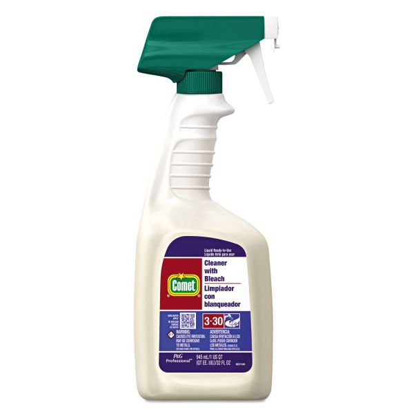 Comet Cleaner with Bleach, 32 oz Spray Bottle, 8/Carton