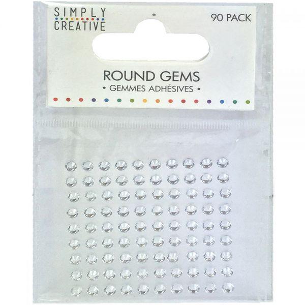 Simply Creative Round Adhesive Gems 90/Pkg