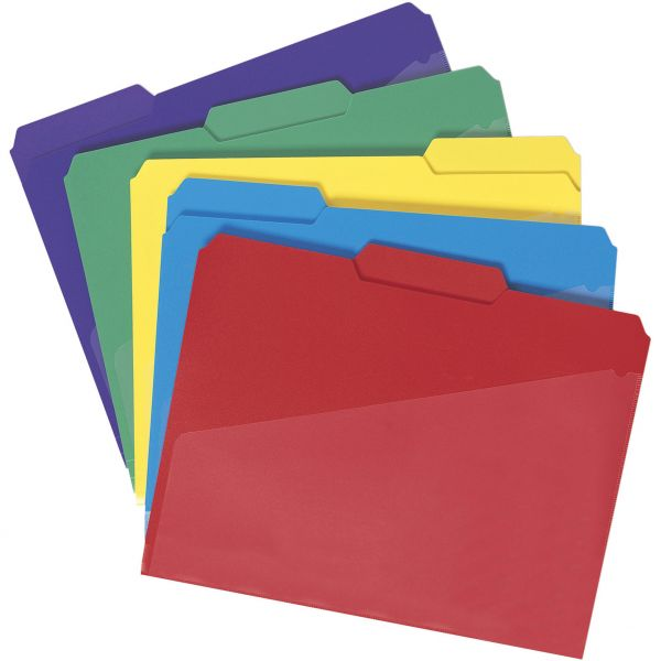 Smead Colored Poly File Folders with Slash Pocket