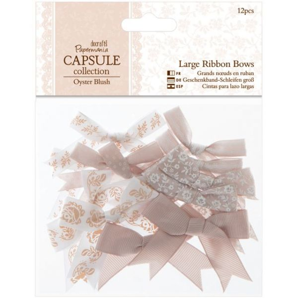Papermania Oyster Blush Large Ribbon Bows 12/Pkg