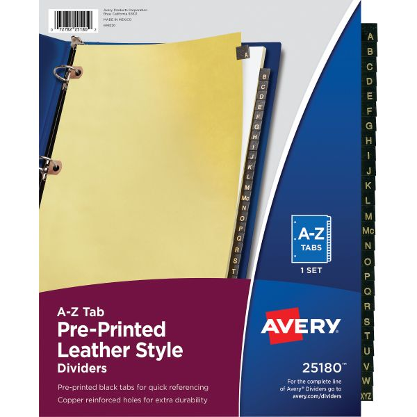 Avery Preprinted Black Leather Tab Dividers w/Copper Reinforced Holes, 25-Tab, Letter