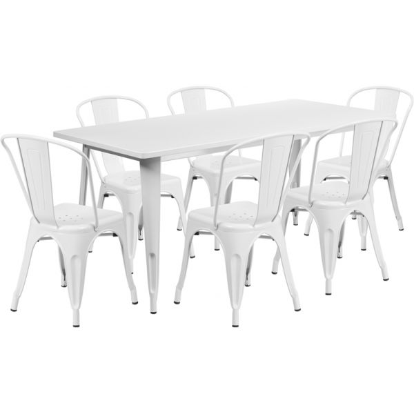Flash Furniture 31.5'' x 63'' Rectangular White Metal Indoor-Outdoor Table Set with 6 Stack Chairs