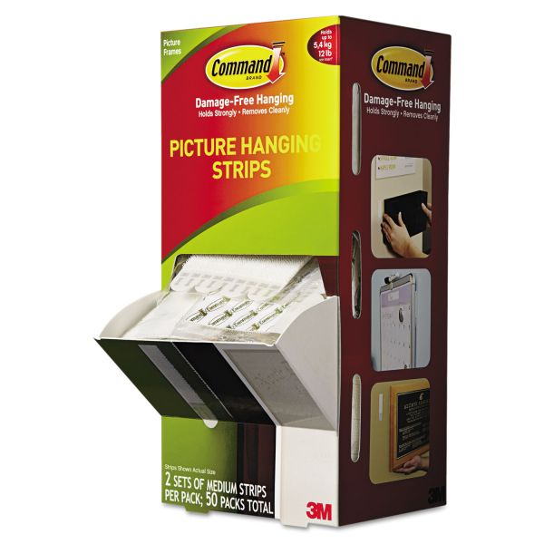 "Command Picture Hanging Strips, 5/8"" x 2 3/4"", White, 50/Carton"