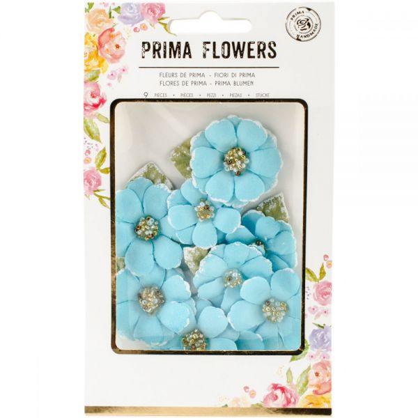 Prima Marketing Fabric Flowers W/Beads & Flocking 9/Pkg