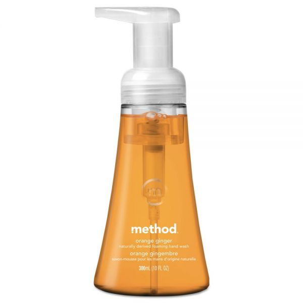 Method Foaming Hand Wash, Orange Ginger, 10 oz Pump Bottle, 6/Carton