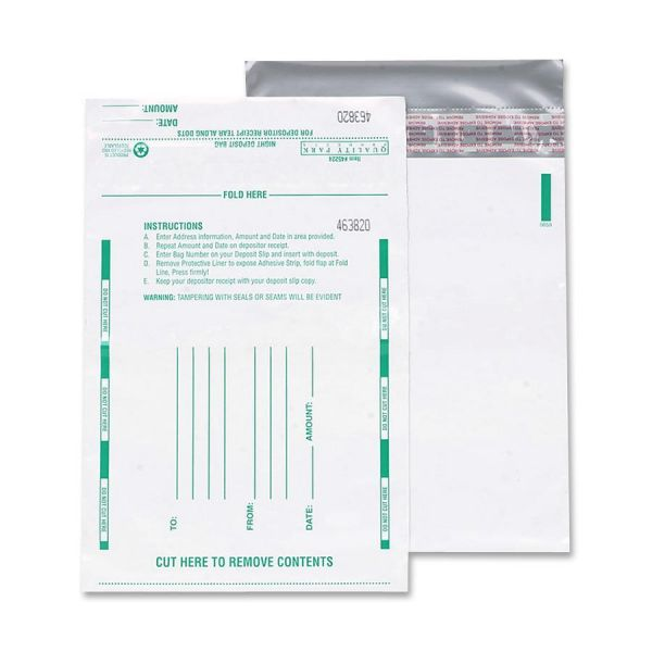 Quality Park Poly Night Deposit Bags w/Tear-Off Receipt, 10 x 13, Opaque, 100 Bags/Pack