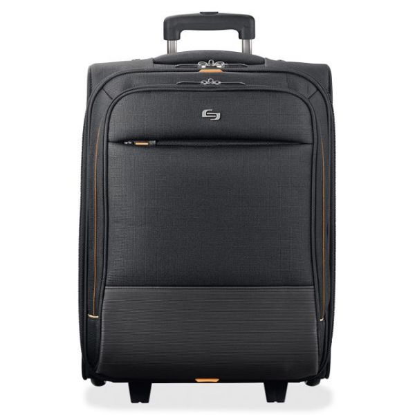"""Solo Urban Carrying Case (Roller) for 15.6"""" Notebook, Travel Essential, Clothing, Charger, Accessories - Black, Gold"""