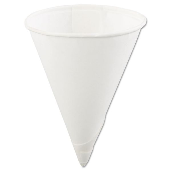 Konie Rolled Rim Paper Cone Cups, 4oz, White, 200/Bag, 25 Bags/Carton