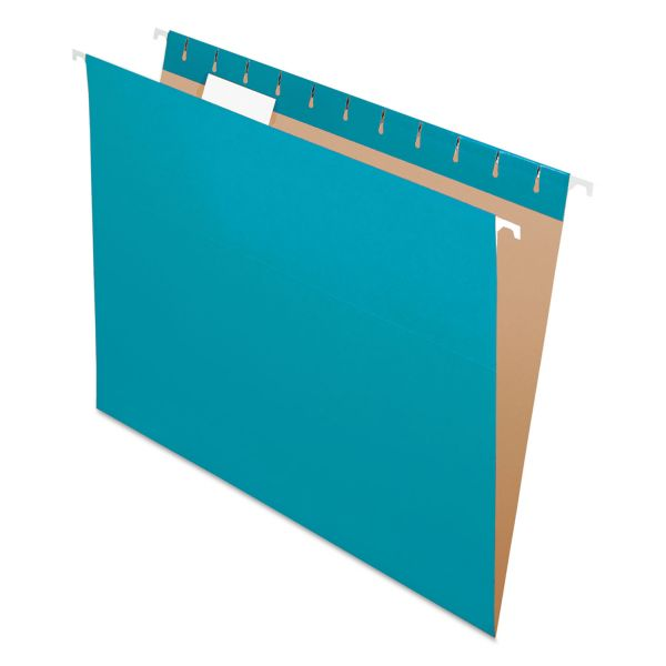 Pendaflex Colored Hanging Folders, 1/5 Tab, Letter, Teal, 25/Box