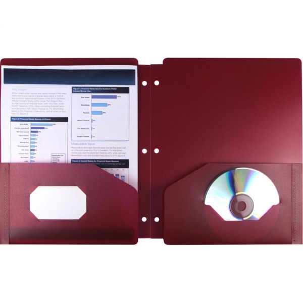Storex Thicker Poly Red Two Pocket Folders with Holes