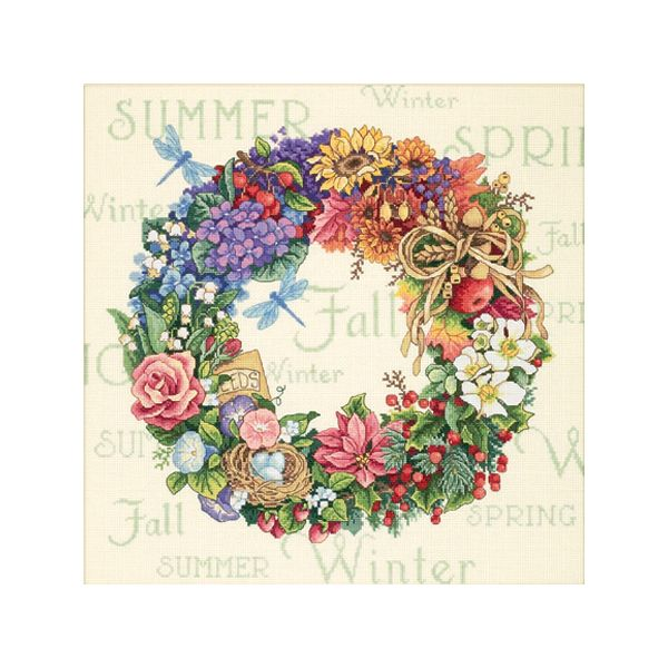 Dimensions Gold Collection Wreath Of All Seasons Counted Cross Stitch Kit