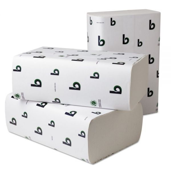Boardwalk Boardwalk Green Plus Multifold Towels, 9 1/8x9 1/2, White, 250/Pk, 16 Pks/Carton
