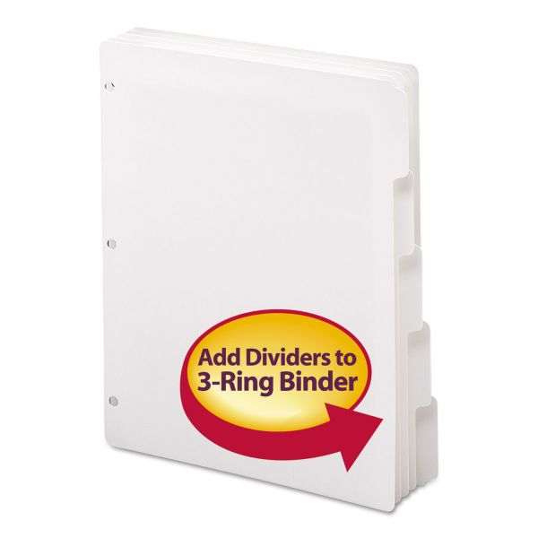 Smead Three-Ring Binder Index Divider, 5-Tab, White Tab, Letter, 20 Sets