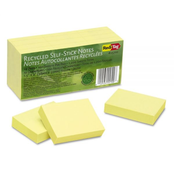 Redi-Tag 100% Recycled Notes, 1 1/2 x 2, Yellow, 12 100-Sheet Pads/Pack