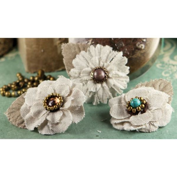 "Flaxence Fabric Flowers W/Gems & Beads 2"" 3/Pkg"