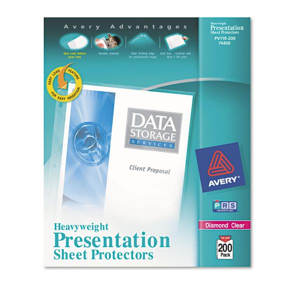 Avery Top-Load Poly Sheet Protectors, Letter, Heavy Gauge, Diamond Clear, 200/Box