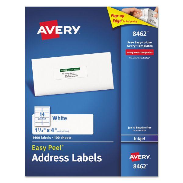 Avery Easy Peel Mailing Address Labels, Inkjet, 1 1/3 x 4, White, 1400/Box