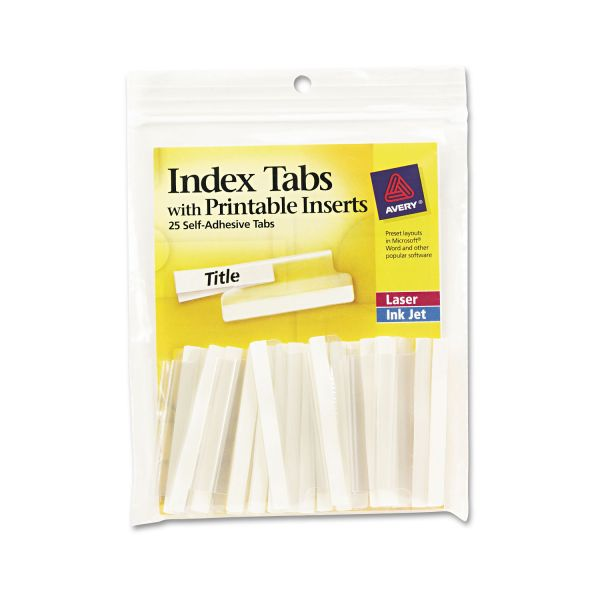 Avery Insertable Index Tabs with Printable Inserts, Two, Clear Tab, 25/Pack