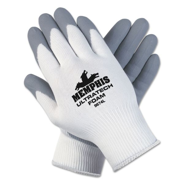 MCR Safety Ultra Tech Foam Seamless Nylon Knit Gloves, Small, White/Gray, Pair