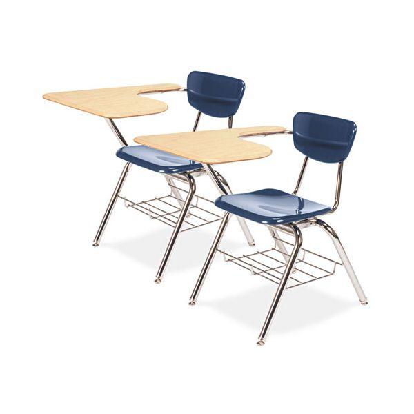 Virco 3700 Series Chair Desk, 20w x 31d x 30-1/2h, Fusion Maple/Navy, 2/Carton