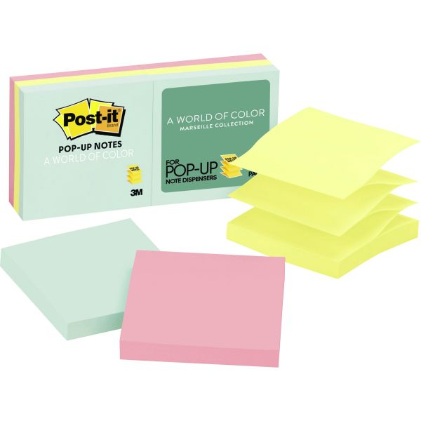 Post-it Pop-up Notes Original Pop-up Refill, 3 x 3, Assorted Marseille Colors, 100-Sheet, 6/Pack