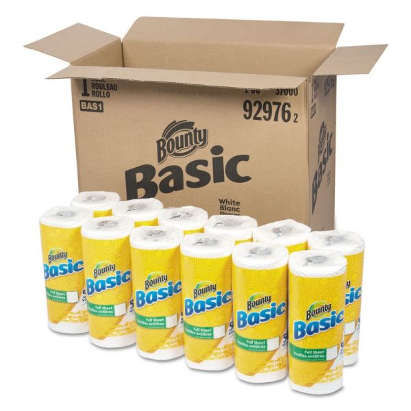 Bounty Basic Paper Towels, 10.19 x 10.98, 1-Ply, 44/Roll, 30 Roll/Carton