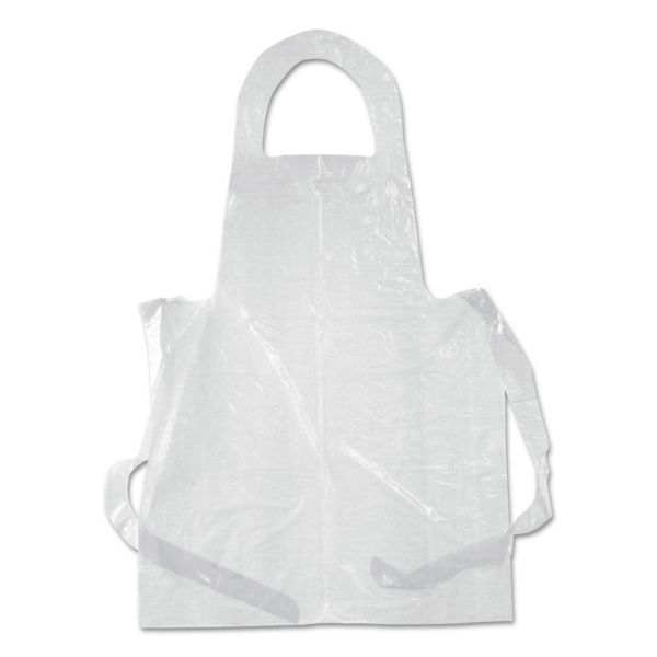 Boardwalk Poly Apron, White, 28 in. x 55 in., 1 mil., One Size Fits All, 100/Pack