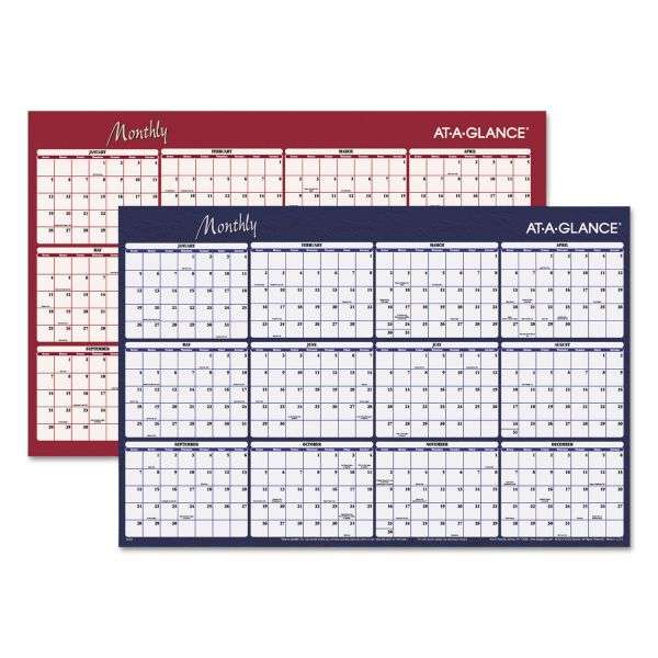 AT-A-GLANCE Reversible Horizontal Erasable Wall Planner, 48 x 32, 2019