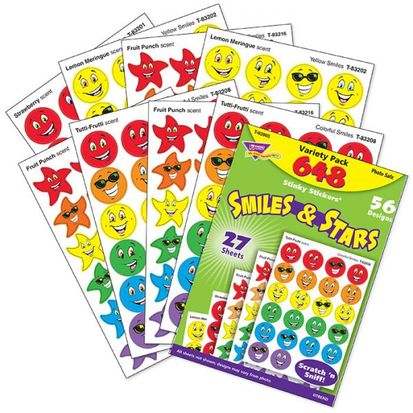 TREND Stinky Stickers Variety Pack, Smiles and Stars, 648/Pack