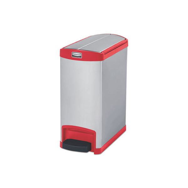 Rubbermaid Commercial Slim Jim Stainless Steel Step-On Container, End Step Style, 8 gal, Red