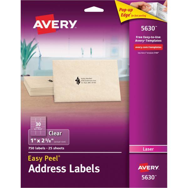 Avery Matte Clear Easy Peel Address Labels, Laser, 1 x 2 5/8, 750/Box