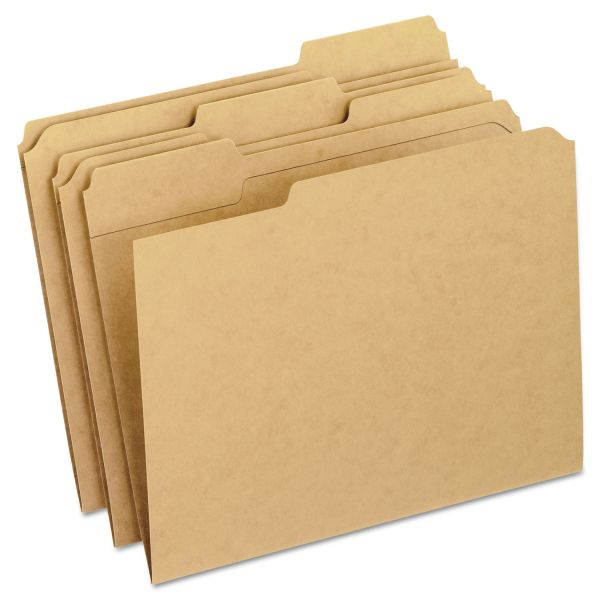 Pendaflex Two-Ply Dark Kraft File Folders, 1/3 Cut Top Tab, Letter, Brown, 100/Box