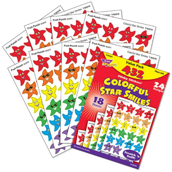 Trend Colorful Star Smiles Stinky Stickers Value Pack