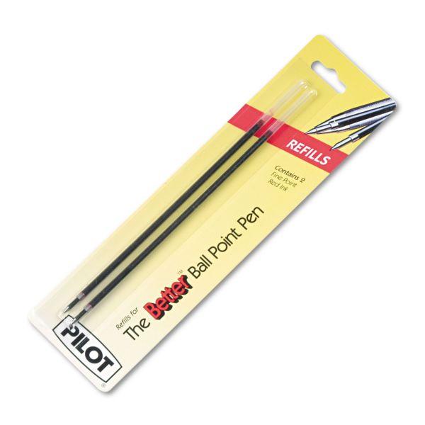 Pilot Refill, Non-retract Better/BetterGrip/EasyTouch Ballpoint, Fine, Red, 2/Pack