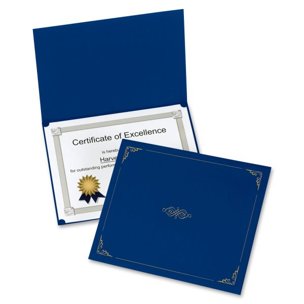 Oxford Certificate Holder, 11 1/4 x 8 3/4, Dark Blue, 5/Pack