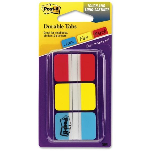 Post-it Tabs File Tabs, 1 x 1 1/2, Assorted Primary Colors, 66/Pack