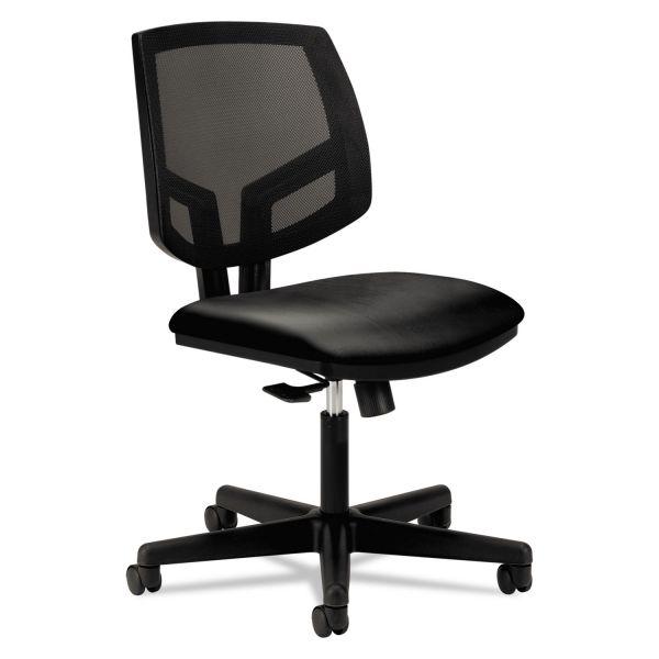 HON Volt Series Mesh Back Leather Task Chair, Black