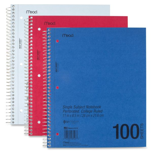 Mead Perforated 1-Subject College Ruled Spiral Notebook