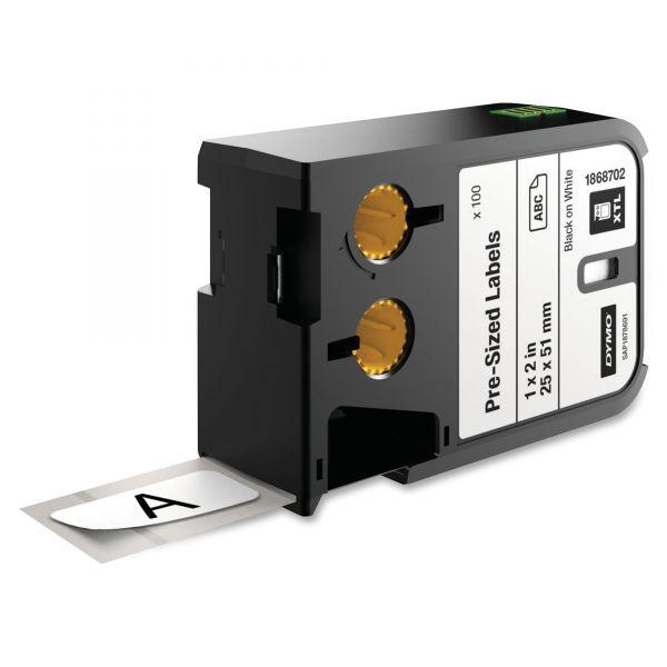 """DYMO XTL Pre-Sized Labels, 1"""" x 2"""", White/Black Print, 100/Cartridge"""