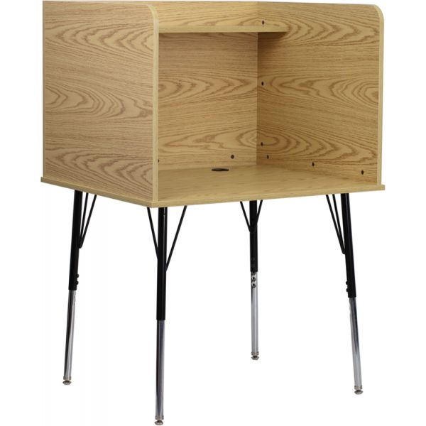 Flash Furniture Study Carrel with Adjustable Legs and Top Shelf in Oak Finish
