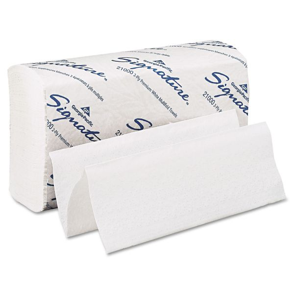 Georgia Pacific Professional Signature Multi-Fold Paper Towel, 9 1/5 x 9 2/5, 2-Ply, White, 125 Sheets/Pack, 16 Packs/Carton